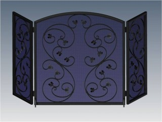Spanish Scroll Arched Fireplace Screen